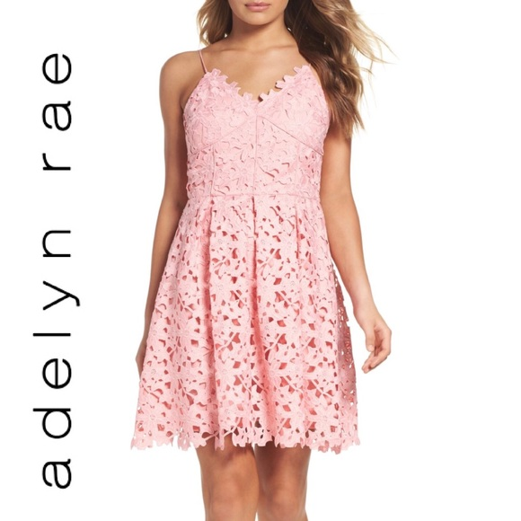 87953df8989 •Adelyn Rae• NWT Lace Fit   Flare Dress Blush Pink